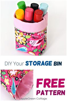 Use this free diy storage bin pattern to make a cute diy storage bin for your crafting nook, kitchen counter or craft room. This mini fabric bin tutorial with a free pattern is a beginner ​sewing pattern and an easy sewing project, and you'll only need little material. A quick sew and easily adjustable - a must-try! Get your free template now! #freepattern #diystorage #sewing