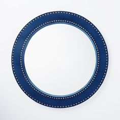Upholstered Round Mirror - Ink Blue Velvet | west elm