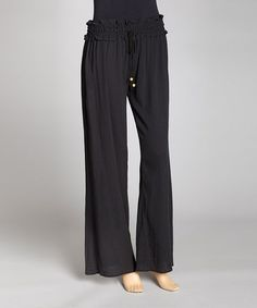 Take a look at this Black Shirred Pants by Indian Tropical Fashions on #zulily today!