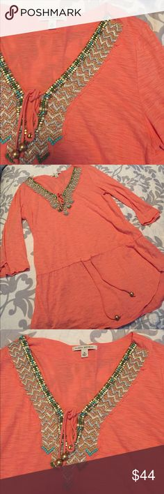 • banana republic jeweled top • banana republic orange jeweled top. size medium. never worn and in great condition, new without tags. smoke free home. reasonable offers will be accepted. same or next day shipping. for my reference only: item # 58 Banana Republic Tops