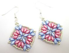 Pink and blue super duo earrings baby pink by BuzzybeeBeading