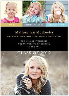Progressive photos in a graduation announcement.