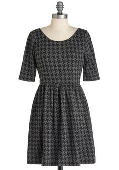 Love houndstooth!  These Are the Days Dress - Short, Black, Grey, Houndstooth, Casual, A-line, 3/4 Sleeve, Fall, Work