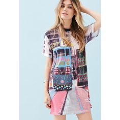 Forever 21 ZIZTAR Tram Tram T-Shirt Dress ($55) ❤ liked on Polyvore