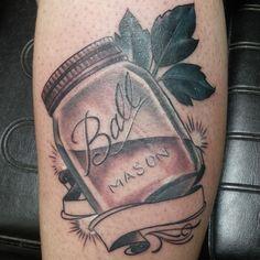 #ball #masonjar #masonjartattoo #moonshinetattoo #tattoos #originstattoostudio #indiana #indianapolis #greenwood #indianapolistattoo #indytattoo