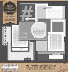 LIP: 4x6 Journal Card Templates v.03 from Peppermint Creative, Digital Scrapbook Supplies #projectlife #pocketpage