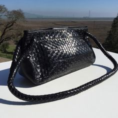 """Small Black Fossil Woven Braided Bag Purse Small clutch size with longer handle.  10"""" long, 5.5"""" high, 3"""" wide. Fossil Bags"""