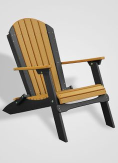 Poly Portable Folding Adirondack Chair - Cedar and Black