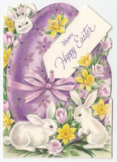 Vintage Greeting Card Easter Bunny Rabbit Flowers Egg Die Cut Gibson Flocked A42 | eBay