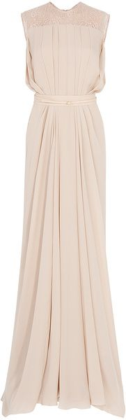 Elie Saab Lace Back Georgette Gown in Beige (multicolored) - Lyst