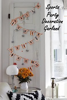 Sports party decorations for game night. This cute paper garland made with sports shirts is perfect as a decoration for a celebration of the. Wedding Themes, Wedding Colors, Diy Ideas, Craft Ideas, Sports Party, Funky Junk, Do It Yourself Projects, Party Stuff, Game Night