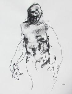 Abstract Figure Drawing  18 x 24  fine art  by derekoverfieldart, $150.00