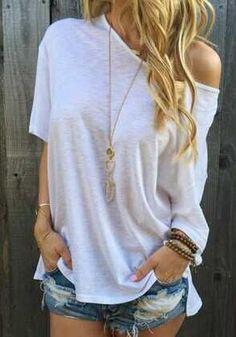 caaaa673a79 White Plain Irregular Batwing Oblique Shoulder Short Sleeve Loose Casual  Fashion T-Shirt
