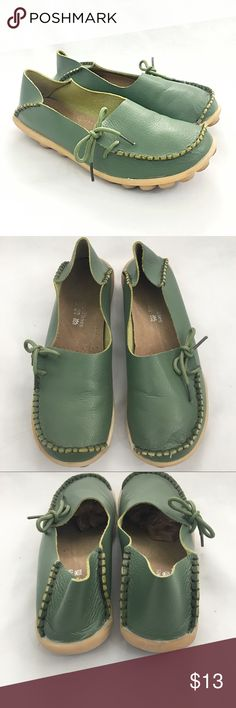 Fashion Shoes Moccasins Moss green genuine leather moccasins.  Please see all pics for any manufacturer blemishes/signs of gentle wear.  SO cute! Shoes Moccasins