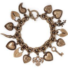 Etro Gold-tone charm bracelet (1.325 RON) ❤ liked on Polyvore featuring jewelry, bracelets, gold, locket charms, boho jewelry, charm jewelry, charm bracelet bangle and charm bracelet