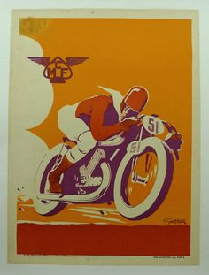 Motorcycle Club de France.  World famous art of the speeding rider by Geo Ham, June 1935.  11.75 x 15.75, LM