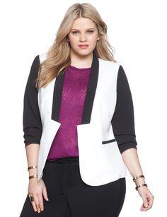 Studio Colorblock Bomber Jacket | Women's Plus Size Jackets | ELOQUII