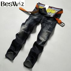 Buy now Beswlz Men Denim Jeans Mid-weight Straight Slim Male Scratched Jeans Pants Casual Business Style Men Black Hole Jeans 9502 just only $29.24 with free shipping worldwide  #jeansformen Plese click on picture to see our special price for you
