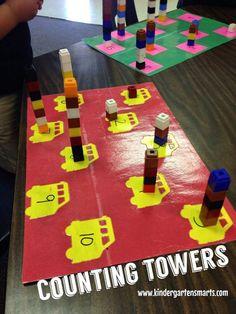 #HandsOn #Math #centers #Counting #Towers #Math #education #preschool #kindergarten #firstgrade #teachers http://www.kindergartensmarts.com/2014/08/literacy-centers-that-are-engaging-and.html