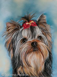 Yorkshire with red ribbon by PedronArtPortrait on Etsy