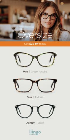 Playful yet dramatic, our larger styles will get you noticed and also save you some hard-earned cash with free Rx lenses. Shop today f… Cute Glasses, New Glasses, Glasses Frames, Oprah Glasses, Fashion Eye Glasses, Womens Glasses, Grunge Hair, Look At You, Up Girl