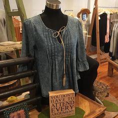 Denim delight!! Style this top with your distressed jeans and super cute booties! #lorelaisstyle #shopsonbroadway #boutiquesonbroadway #uptowncolumbusgeorgia #shoplocal  Www.lorelais.com