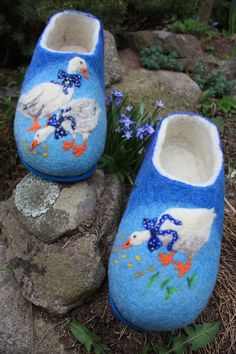 Felted Slippers- Little ducks