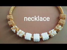 Necklace-tutorial. Колье из квадратных бусин - YouTube Beaded Necklace Patterns, Beaded Bracelets Tutorial, Necklace Tutorial, Beaded Earrings, Necklace Ideas, Beaded Necklaces, Beads Jewelry, Beaded Jewelry Designs, Jewelry Findings