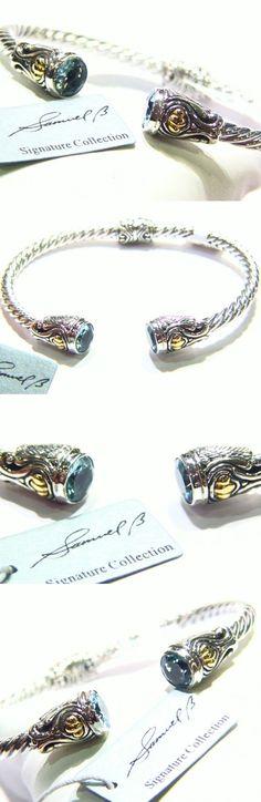 Gemstone 164315: Bjc Samuel B Behnam Sterling Silver 18K Gold Blue Topaz Bangle Bracelet 925 -> BUY IT NOW ONLY: $138 on eBay!