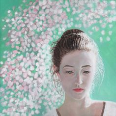 'Portrait of a girl, blossoming' by contemporary artist Helen White, see more on www.paintinglight.org