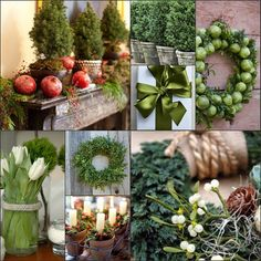 holiday collage of ideas using greenery, and textures....now this is my kind of eye candy. Each to his/her own. I love it. Cheers!