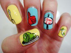 I love Dr. Seuss nail art.  (Green Eggs and Ham
