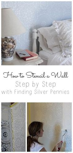 How To Stencil a Wall with the Parlor Lace Stencil by RoyalDesignStudio.com - via Finding Silver Pennies