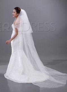 Wedding Veil#Long Charming Two Layers Chapel Wedding Bridal Veil.