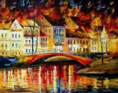 Red Bridge — PALETTE KNIFE Oil Painting On Canvas by Leonid Afremov on AfremovArtGallery, $239.00