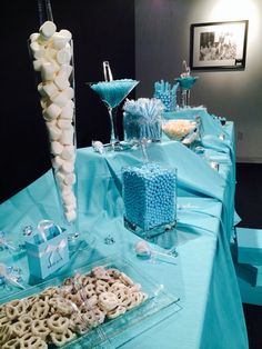 Pretty treats at a Breakfast at Tiffany's Baby Shower!  See more party ideas at CatchMyParty.com!