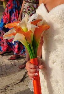 Small and simple white and orange calla lily bridal bouquet.