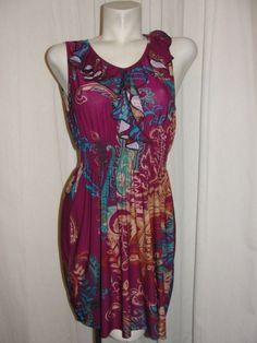 NEW Jon & Anna Womens Size M Plum Brown Blue Ruffle V-neck Sleeveless Dress NWT #JonAnna #Sundress #SummerBeach