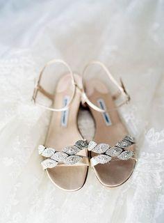 Jeweled Flat Bridal Sandals by Manolo Blahnik