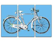 Denver Street Map Bicycle Triptych Canvas Giclee -