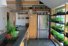 A kitchen with a south facing growing window for food growing -    -  To connect with us, and our community of people from Australia and around the world, learning how to live large in small places, visit us at www.Facebook.com/TinyHousesAustralia