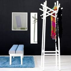 Karl Andersson Nest wall-mounted coat rack by Gabriella Gustafson and Matthias Stahlbom. This coat rack is modelled on bird nests. The slats of which it is constructed criss-cross each other's paths and thereby provide a multitude of opti Wall Mounted Coat Rack, Coat Hooks, Vestibule, Swedish Design, Scandinavian Design, Standing Coat Rack, Coat Stands, Stand Design, Black Walls