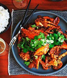 Australian Gourmet Traveller classic dish recipe for Singapore chilli crab.
