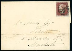 1841 1d. red-brown GH with close to large margins, used on 1841 (Aug.) cover to Manchester, tied by the distinctive black Maltese Cross of Walsall, scarce.