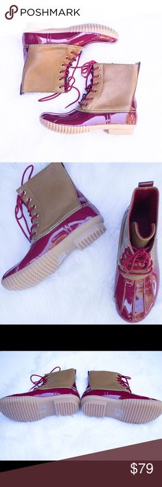 Burgundy Duck Boots This listing is for burgundy. These are selling like crazy for fall  $79 each or $130 for 2 pairs. Other colors available  Select lining in each boot to keep you comfy. Stitched synthetic rubber sole for durability and grip  Price FIRM unless bundled. Kyoot Klothing Shoes Winter & Rain Boots