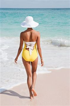 Lace up yellow one piece