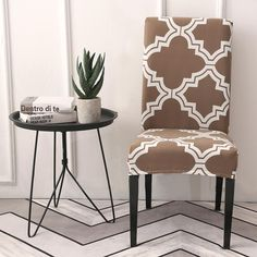 Stretchy Spandex Dining Chair Covers Slipcover Back Wedding Banquet Decors Dining Room Seat Covers, Banquet Chair Covers, Seat Covers For Chairs, Patterned Dining Chairs, Patterned Chair, Dining Chair Slipcovers, Dining Room Chairs, Arm Chairs, Chair Cushions
