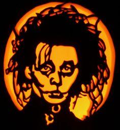 Edward Scissorhands on a foam pumpkin.    Pattern by stoneykins.com