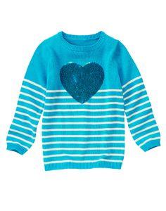 Sequin Heart Stripe Sweater
