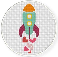 INSTANT+DOWNLOAD+Stitch+Valentine+Spaceship++by+DailyCrossStitch,+$2.99